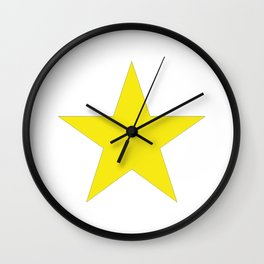 Yellow star on white Wall Clock