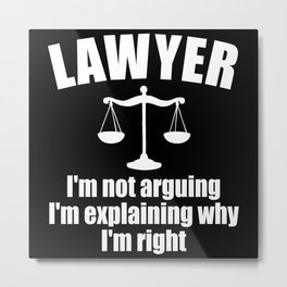 Lawyer Law Judgment Court Justice Gift Metal Print
