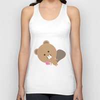 beaver Tank Tops featuring Kawaii Beaver by SweetToothStudio