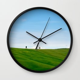 Beautiful spring minimalistic landscape with green hills in Tuscany countryside, Italy Wall Clock