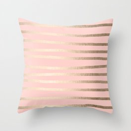 Abstract Drawn Stripes Gold Coral Light Pink Throw Pillow