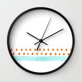 teal stripe orange dots pattern Wall Clock