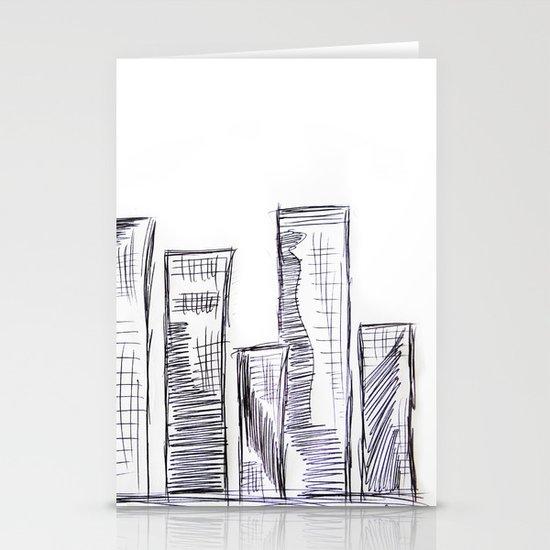 The City - Original Pen Ink Sketch Stationery Cards