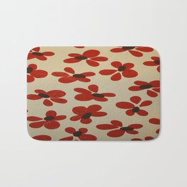 Red and Cream Pattern Design  - Abstract Flower - Wild Veda Bath Mat