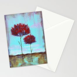 Cherished, Landscape Skinny Red Trees Stationery Cards