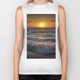 Lake Michigan Sunset with Crashing Shore Waves Biker Tank