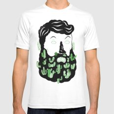 Cactus Beard Dude Mens Fitted Tee MEDIUM White