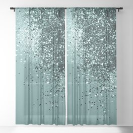 Teal Mermaid Ocean Glitter #1 #shiny #decor #art #society6 Sheer Curtain