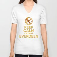 katniss V-neck T-shirts featuring KEEP CALM KATNISS EVERDEEN by BomDesignz