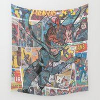black widow Wall Tapestries featuring Vintage Comic Black Widow by Dave Seedhouse.com