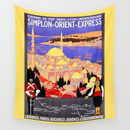 Vintage Simplon Orient Express London Constantinople Wall Tapestry