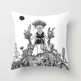 Flower Priestess Throw Pillow