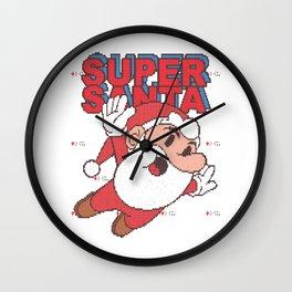 Retro Games Super Santa - knitted ugly Christmas Wall Clock
