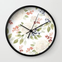 Watercolor ranunculus - Watercolor floral pattern Wall Clock