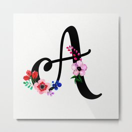 Letter A Watercolor Floral Background Metal Print