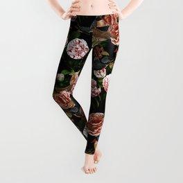 Vintage & Shabby Chic - Blush Camellia & Kingfishers Leggings