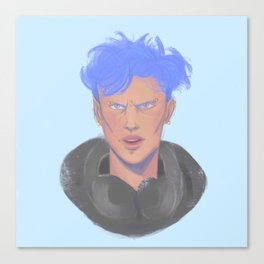 Rude dude in blue Canvas Print