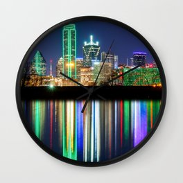 A very colorful Dallas Skyline with an impressive reflection Wall Clock
