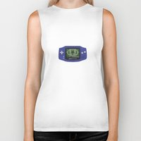 gameboy Biker Tanks featuring Classic Gameboy Zelda Link by Electra