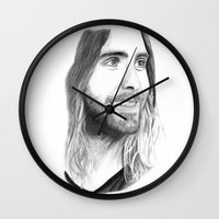 jared leto Wall Clocks featuring Jared Leto by Art by Cathrine Gressum