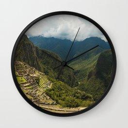 Panorama of Machu Picchu, Peru Wall Clock