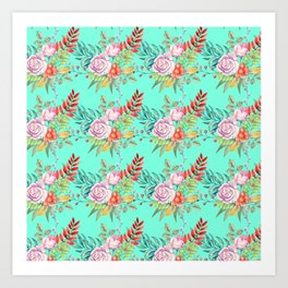 Country chic pink red aqua watercolor floral Art Print