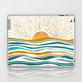 The Sun and The Sea - Gold and Teal Laptop & iPad Skin