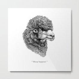 """TypoAnimal - """"Sheep happens!"""" Metal Print"""