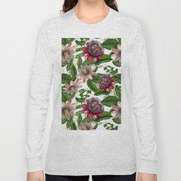 Vintage & Shabby Chic- Retro Passiflora Pattern Long Sleeve T-shirt