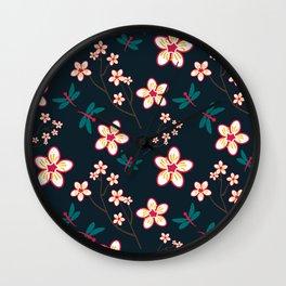 Cherry Blossom Season Dark Green Background Wall Clock
