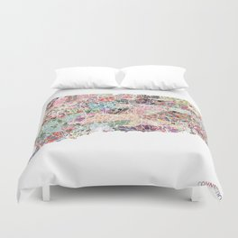 Connecticut map Duvet Cover