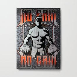 Bodybuilder, GYM pain & gain Metal Print