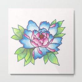 Blue and Pink Peony Metal Print