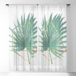 Minimal Tropical Palm Leaf - Palm And Gold - Gold Geometric Shape - Modern Tropical Wall Art - Green Sheer Curtain