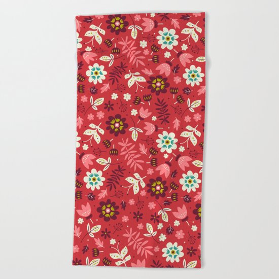 Fresh Blossoms (Reds) Beach Towel