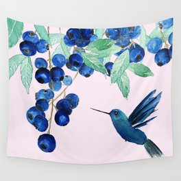 blueberry and humming bird Wall Tapestry