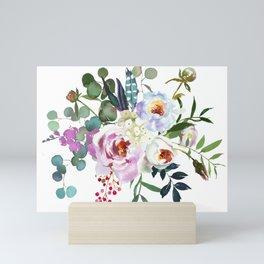 Watercolor bouquet flowers Mini Art Print