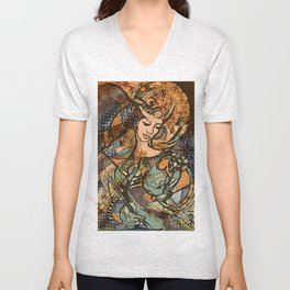 Warrior woman - inspired by Art Nouveau style Unisex V-Neck