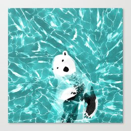 Playful Polar Bear In Turquoise Water Design Canvas Print