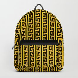 Greek Key Full - Gold and Black Backpack