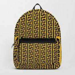 Greek Key Full - Gold and Black Backpack