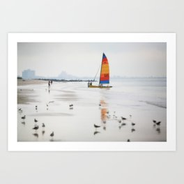 Boat on beach Art Print