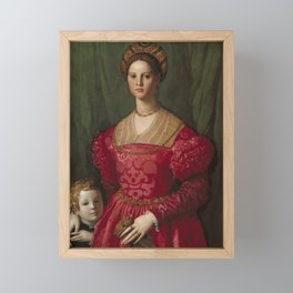 A Young Woman and Her Little Boy OIl Painting by Agnolo Bronzino Framed Mini Art Print