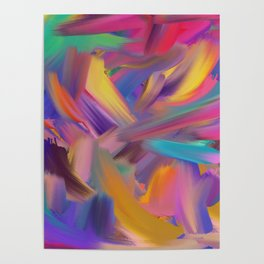 hand made colorful mixer brush Poster