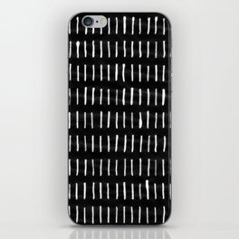 White on Black Woodstock Pattern iPhone Skin