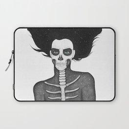 Black and White Galaxy Skull Girl Laptop Sleeve