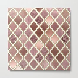 Rosegold Pink and Copper Moroccan Tile Pattern Metal Print