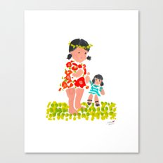 Girl & Her Doll Canvas Print