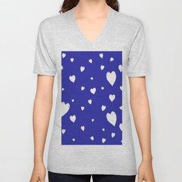 Hand-Drawn Hearts (White & Navy Blue Pattern) Unisex V-Neck
