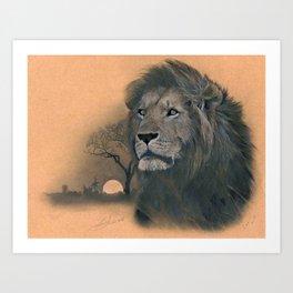 Cecil the Lion Portrait  Art Print